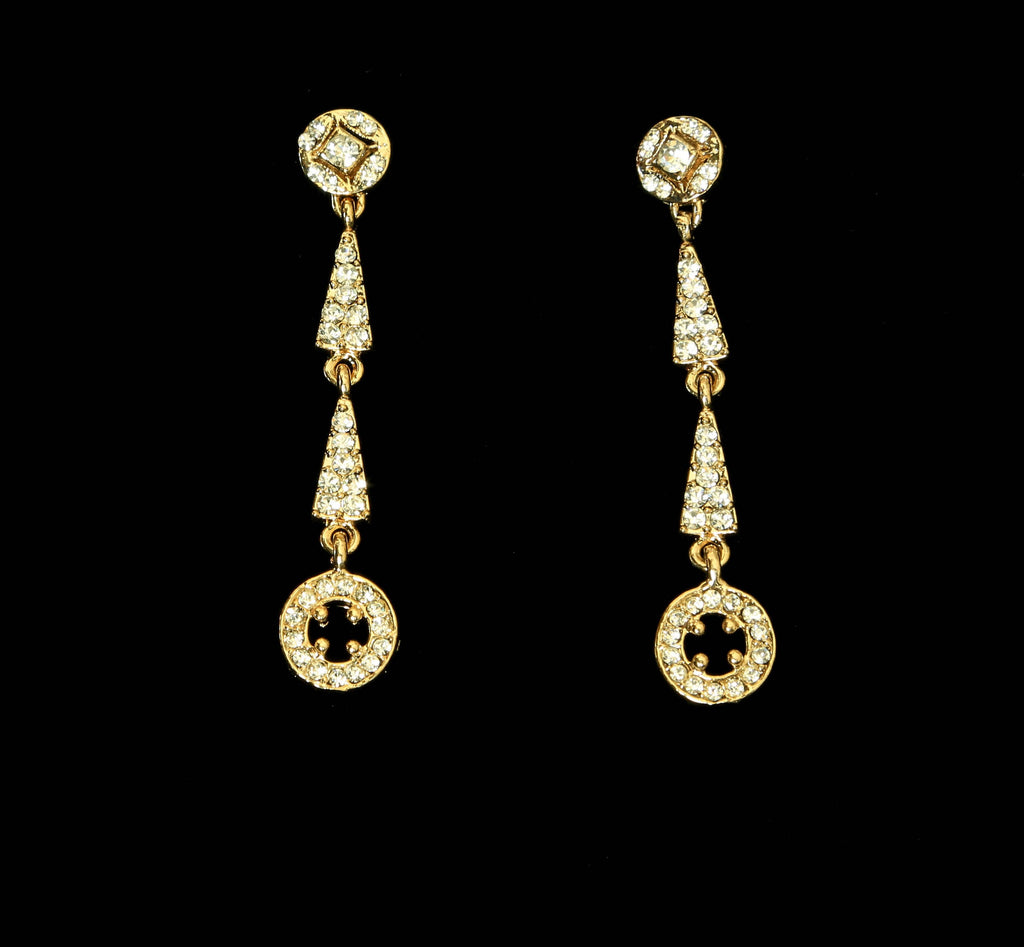 Double Arrow Gold and Crystal Drop Earrings - The Persnickety Bride