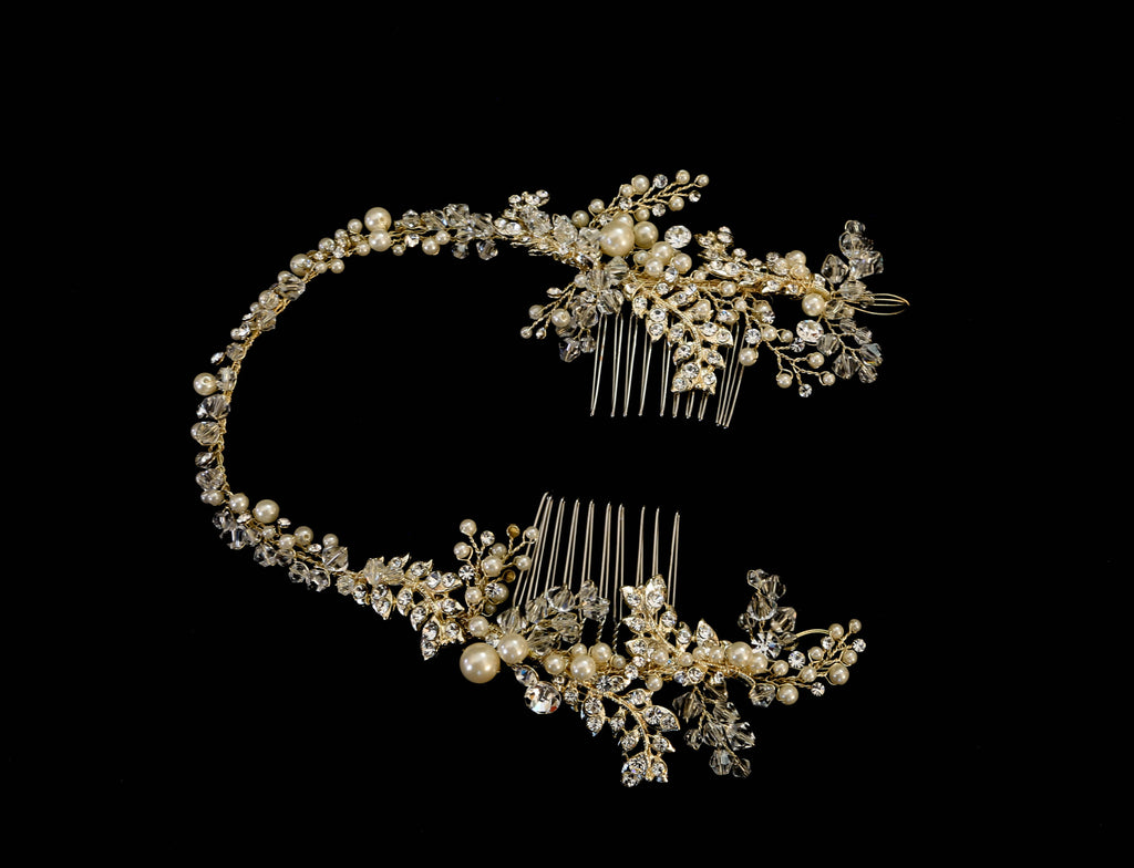 Flex & Floral Rhinestone and Pearl Vine Combs - The Persnickety Bride