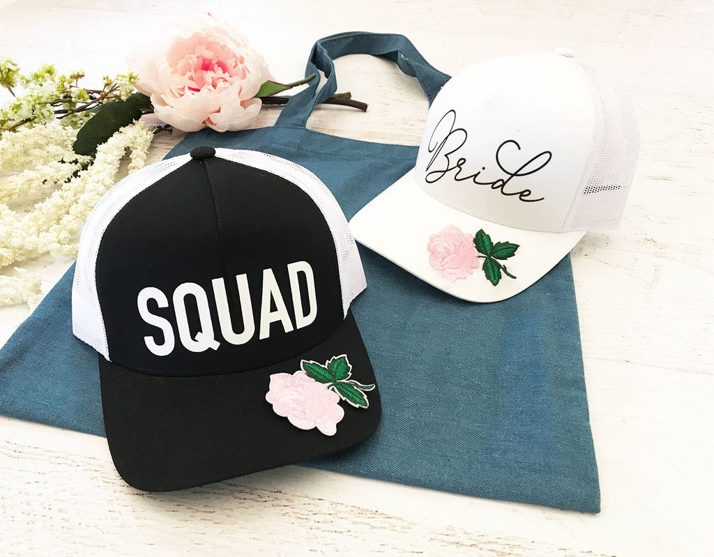 Floral Bride & Squad Hats - The Persnickety Bride