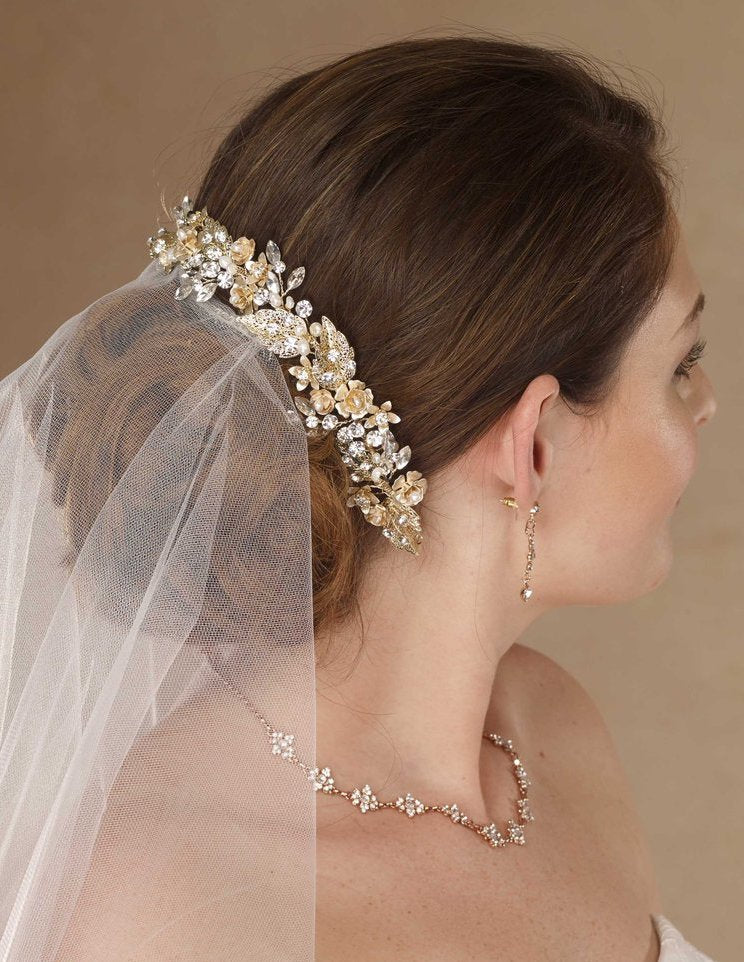 Gold headpiece with rhinestone and blush flowers - The Persnickety Bride