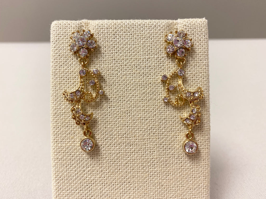 Golden Swirls, Crystal Twirls Earrings - The Persnickety Bride