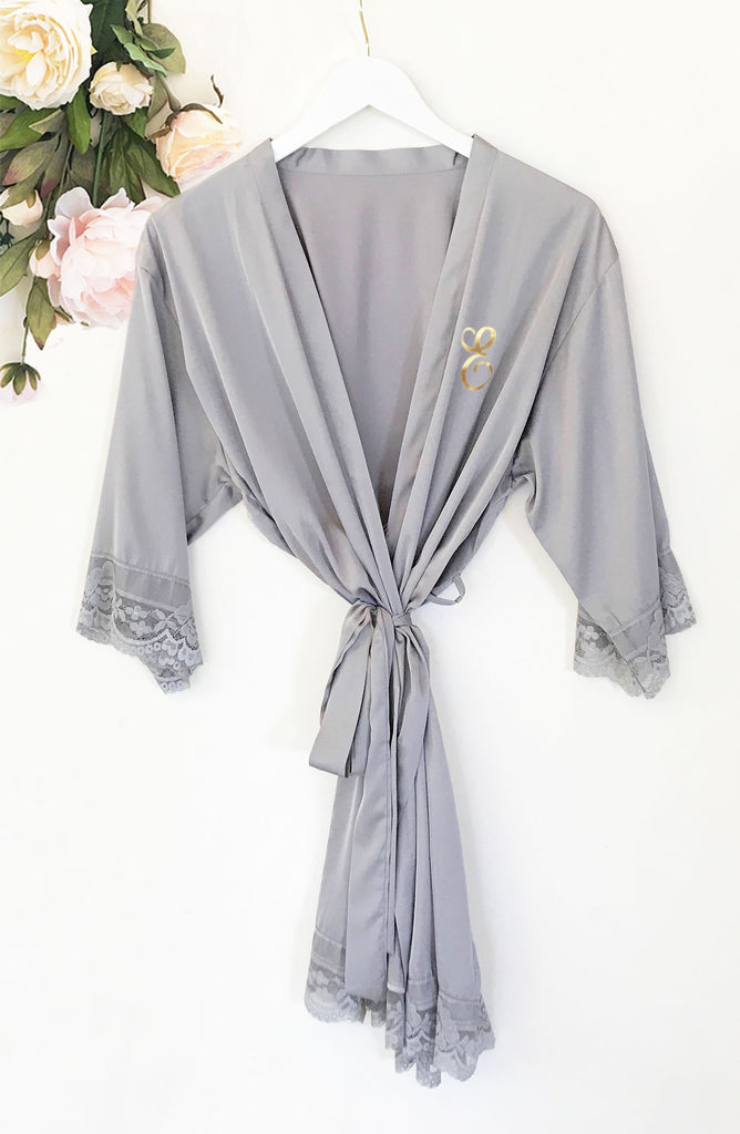 Monogram Satin Lace Robe - The Persnickety Bride