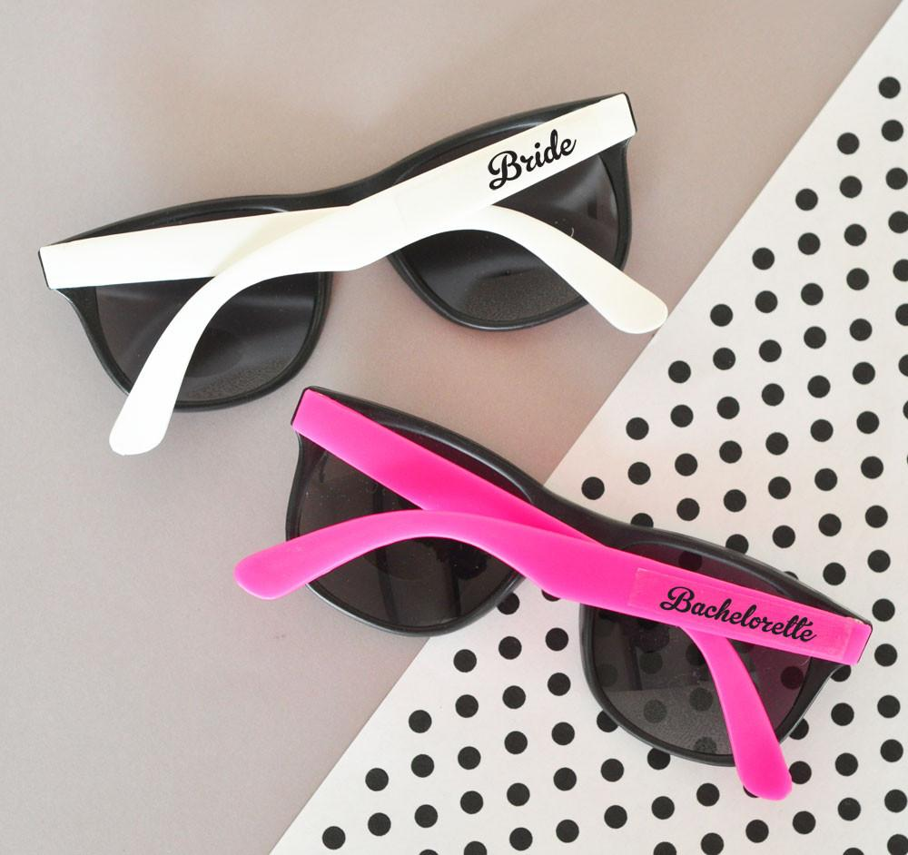 Hot Pink & White Bachelorette Party Sunglasses (set of 6) - The Persnickety Bride