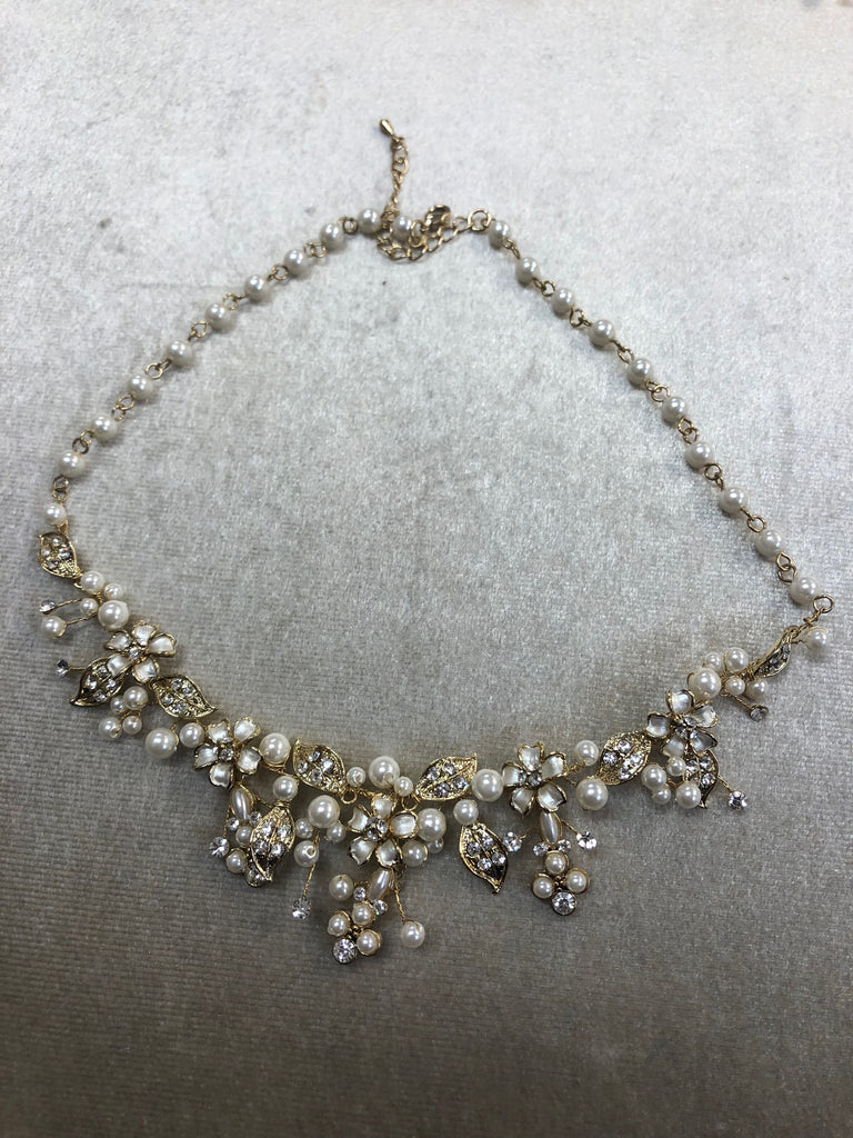 Gold pearl necklace with rhinestones - The Persnickety Bride