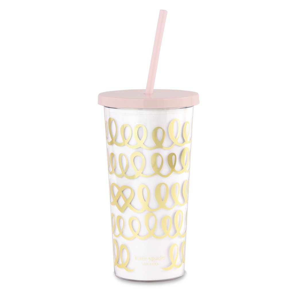 Kate Spade New York Heart Knot Tumbler with Straw - The Persnickety Bride