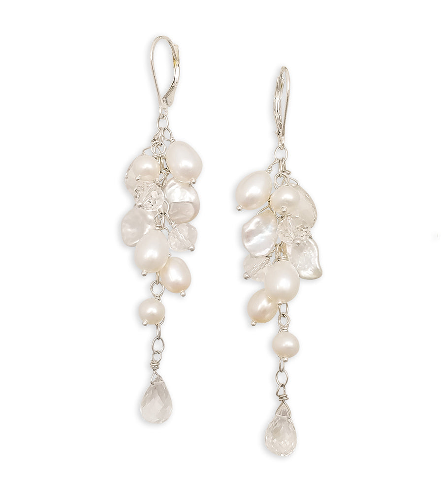 Lori Ann Pearl & Rock Quartz Earrings