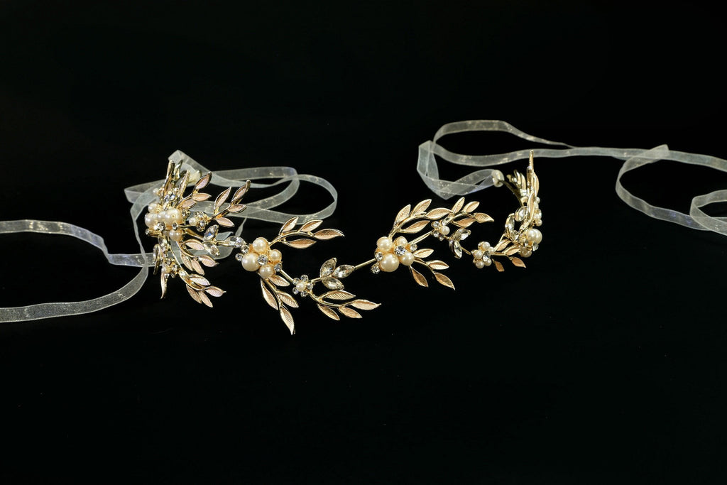 Leaves of Gold and Crystal Headband - The Persnickety Bride