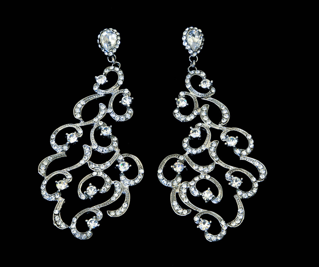 Long Swirl Rhinestone Earrings - The Persnickety Bride