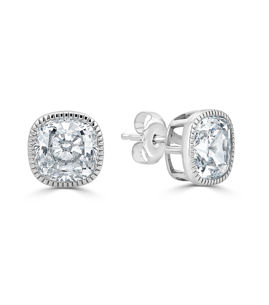 Lucille Cushion Cut Stud Earrings - The Persnickety Bride