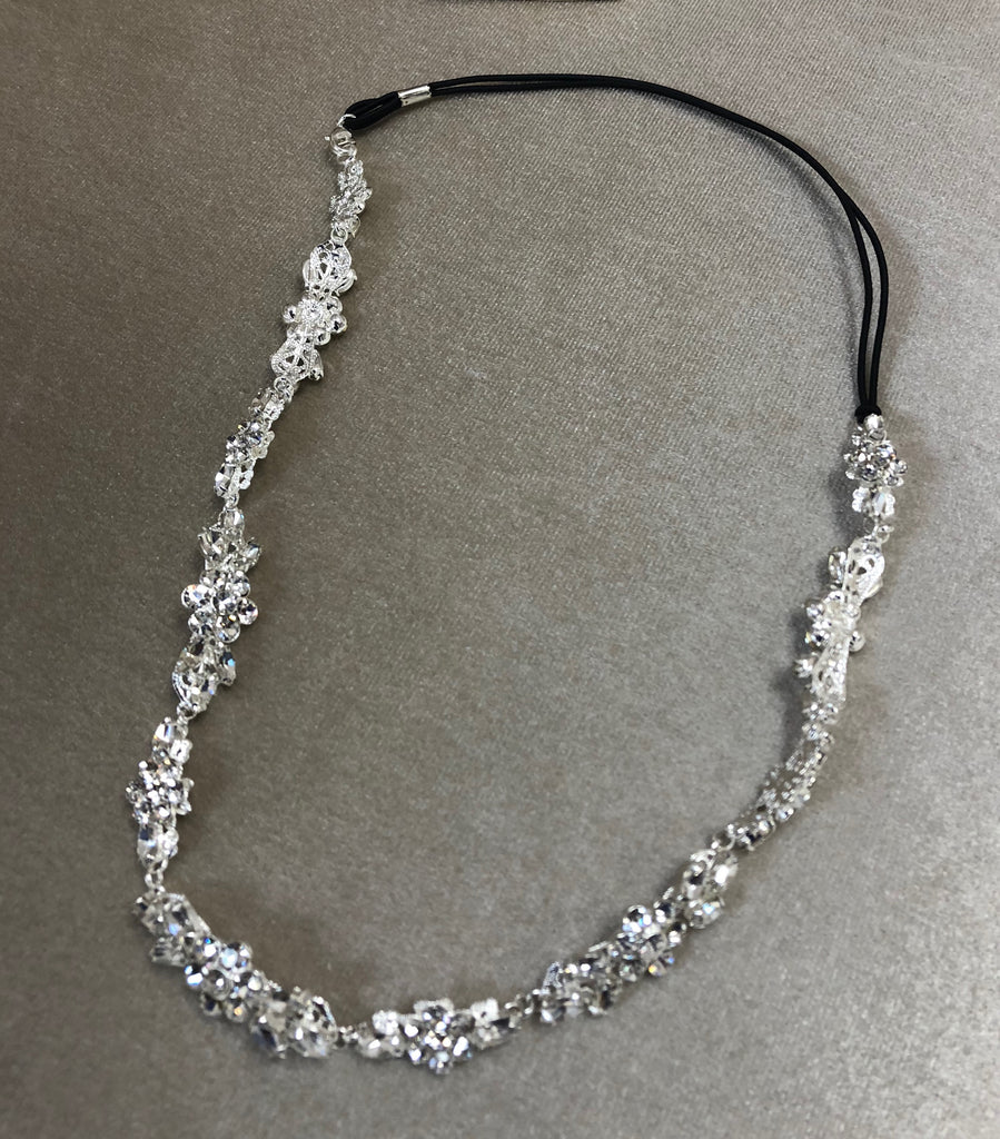 Rhinestone flexi on elastic headpiece