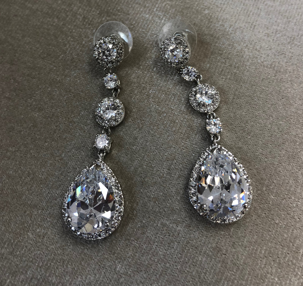 Statement Crystal Teardrop Earrings - The Persnickety Bride