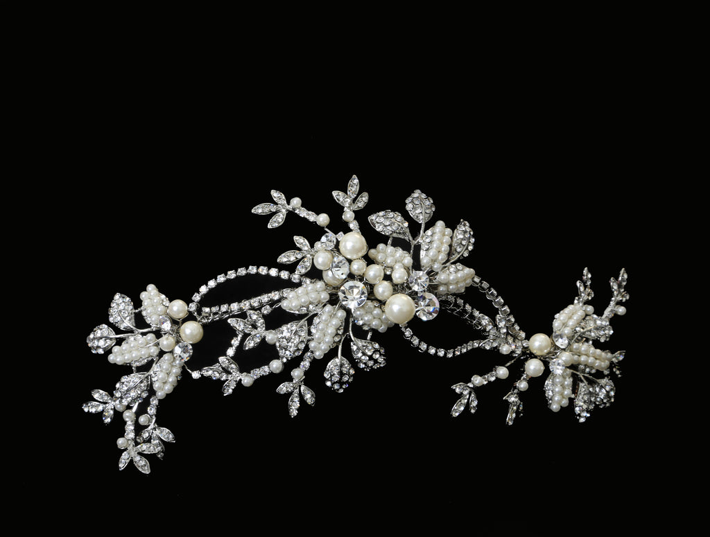 Swarovski and Pearl Climbing Floral Headpiece - The Persnickety Bride