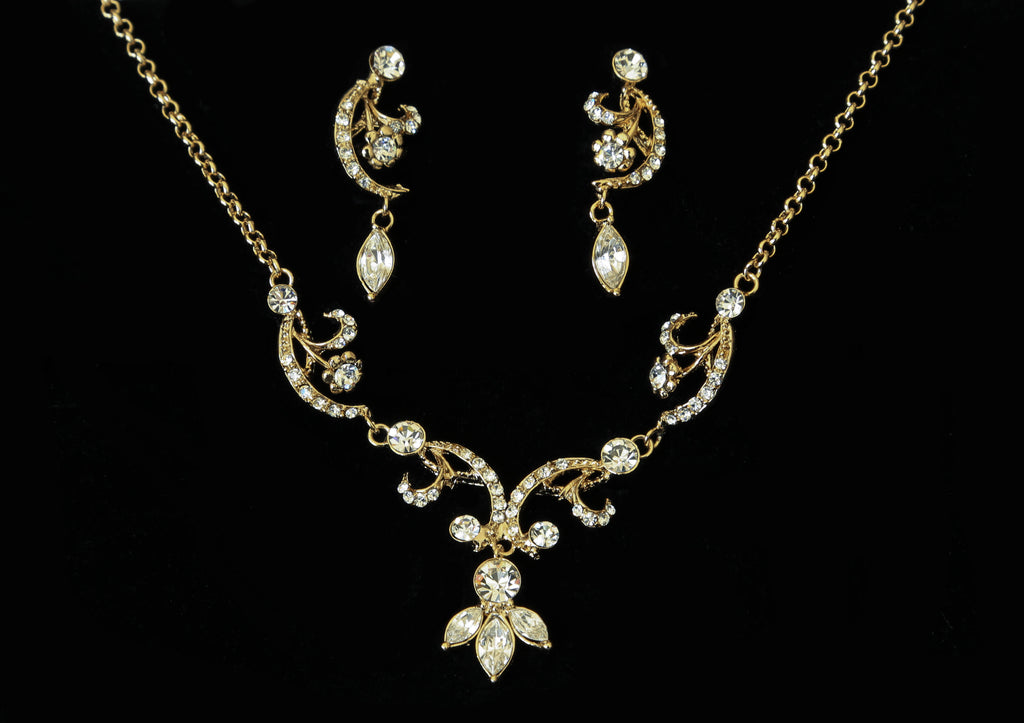 Swirl & Marquis Rhinestone Jewelry Set - The Persnickety Bride