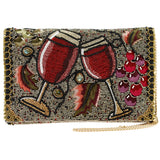 Glasses & Grapes Beaded Embroidered Handbag - The Persnickety Bride