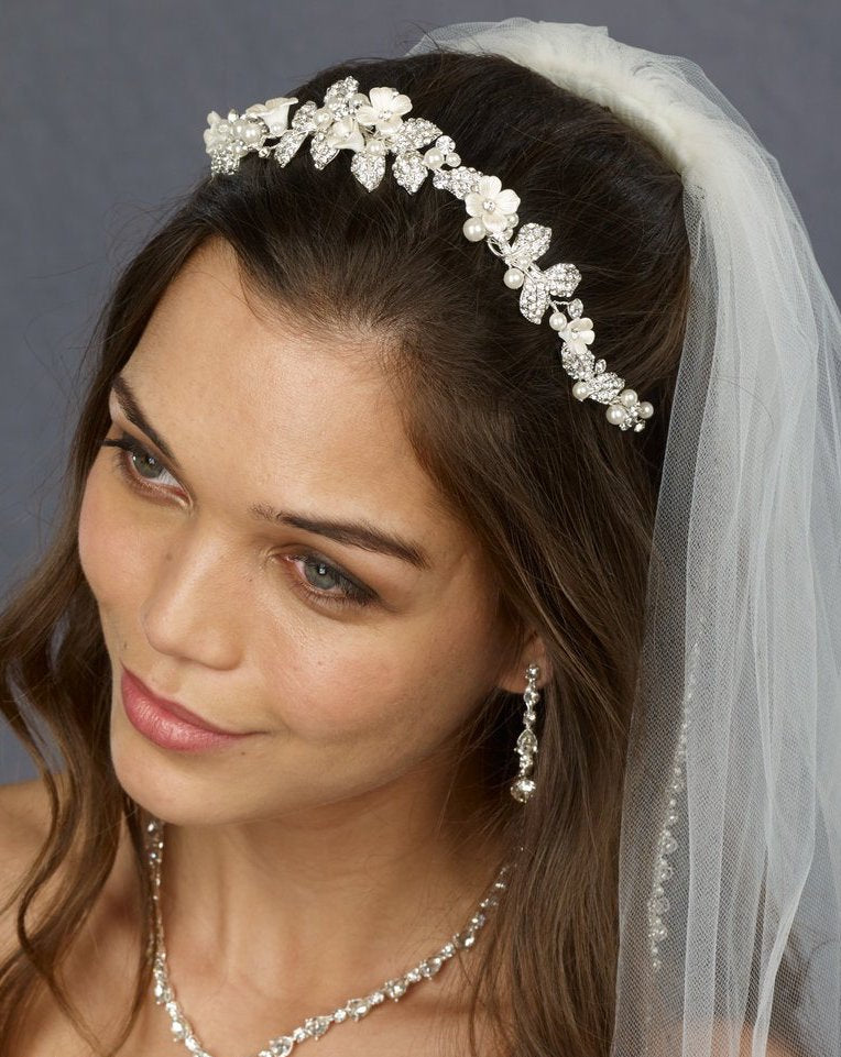 Pearls, Metal Flowers and Rhinestone Headband