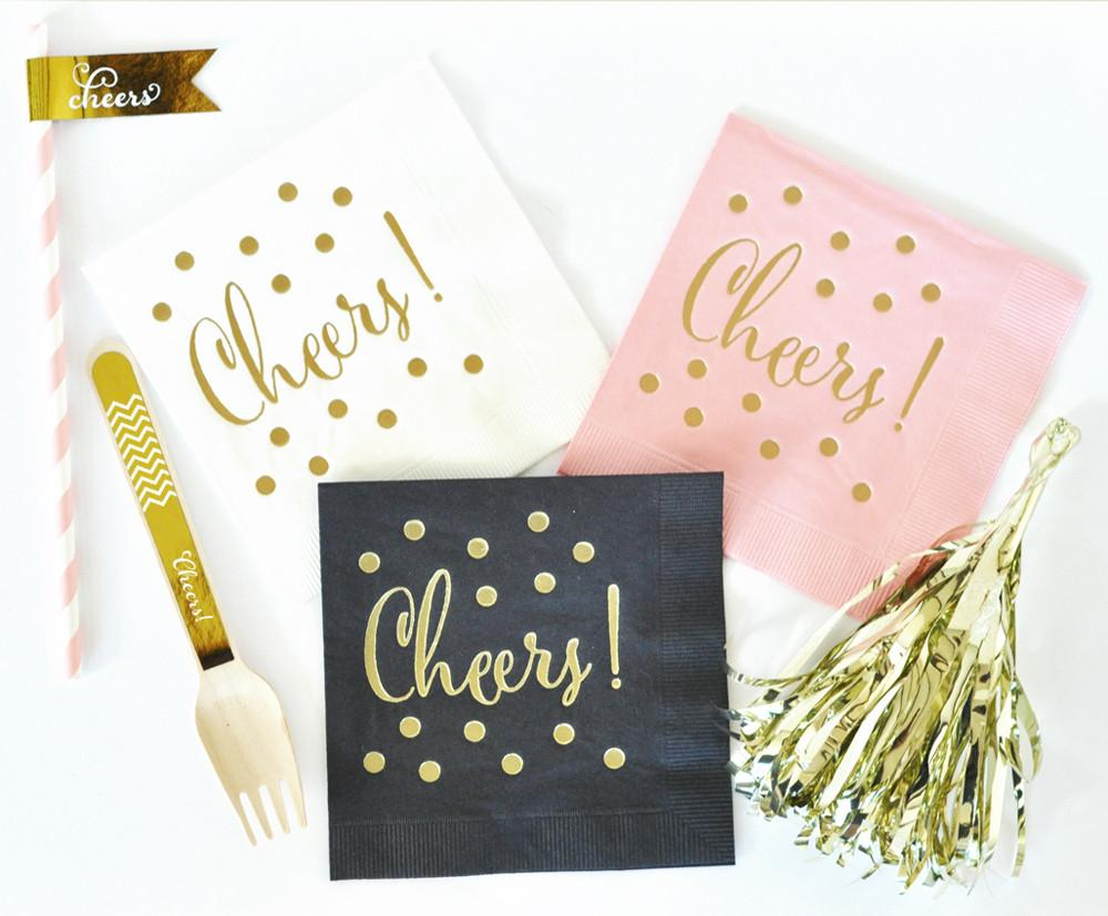 Metallic Gold CHEERS Napkins (set of 25) - The Persnickety Bride
