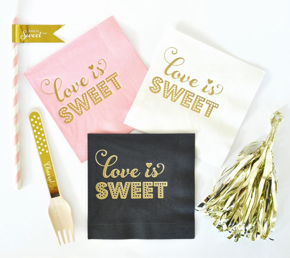 Metallic Gold LOVE IS SWEET Napkins (set of 25) - The Persnickety Bride