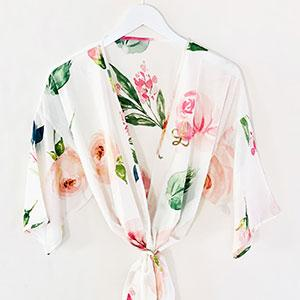 Monogram Spring Rose Satin Robe - The Persnickety Bride