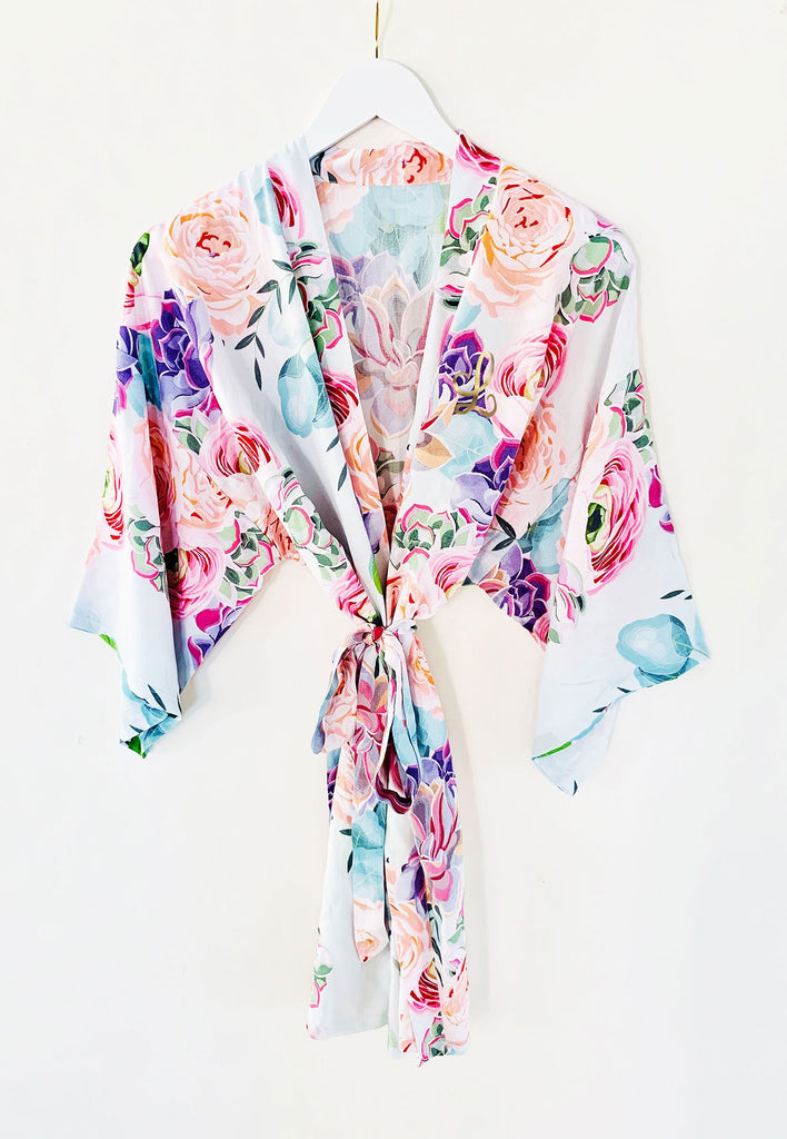 Monogram Succulent Cotton Robe - The Persnickety Bride