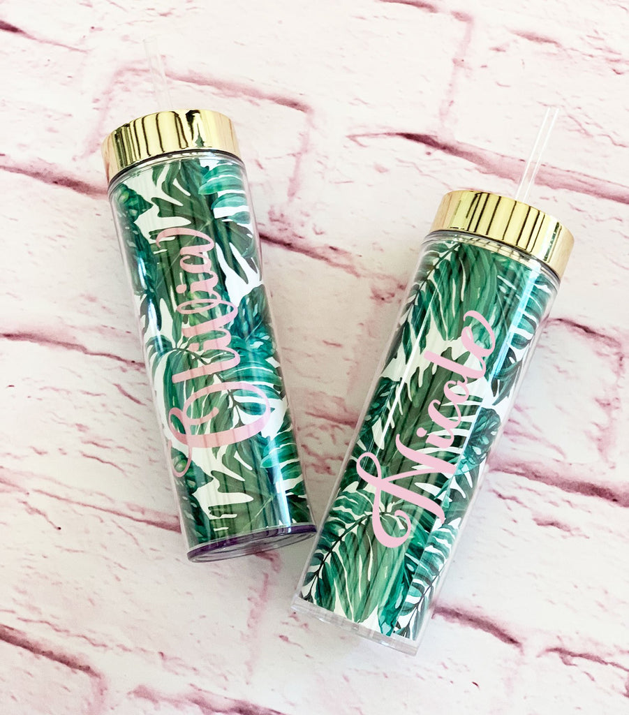 Palm Leaf Tall Tumbler - The Persnickety Bride
