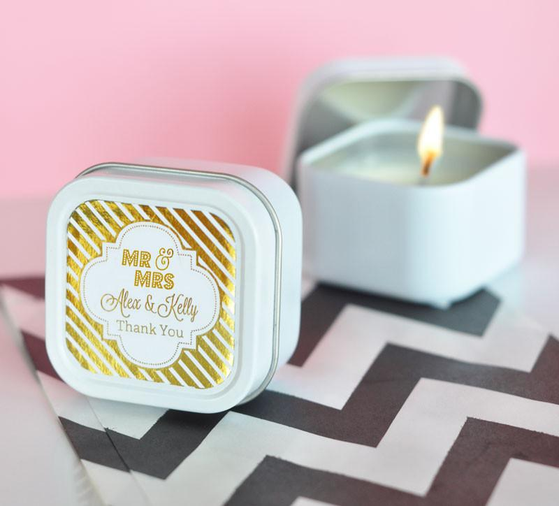 Personalized Foil Square Candle Tins (set of 24) - The Persnickety Bride