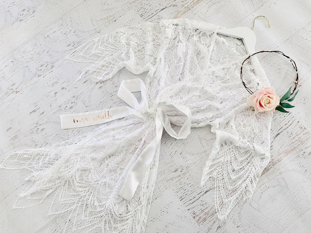 Personalized Lace Robe - The Persnickety Bride