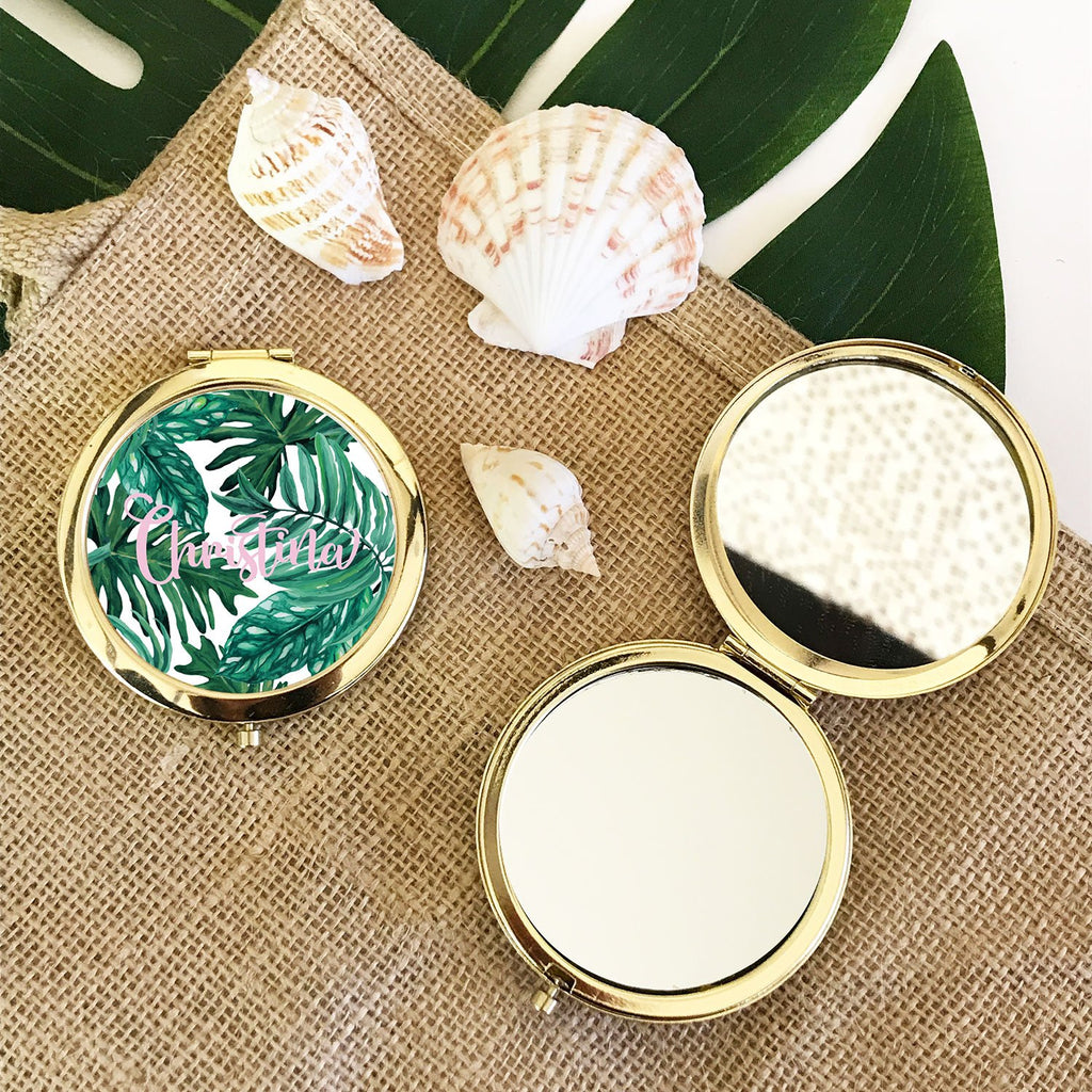 Personalized Palm Leaf Compact - The Persnickety Bride