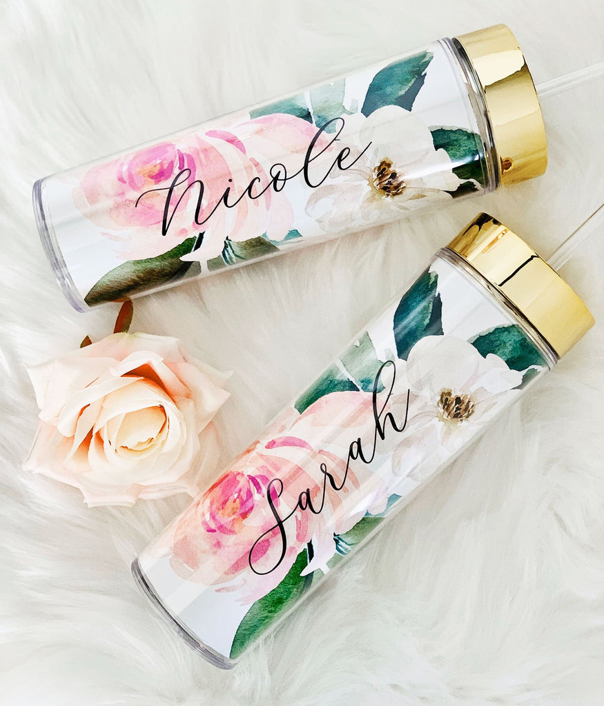 Personalized Spring Floral Tall Tumblers - The Persnickety Bride