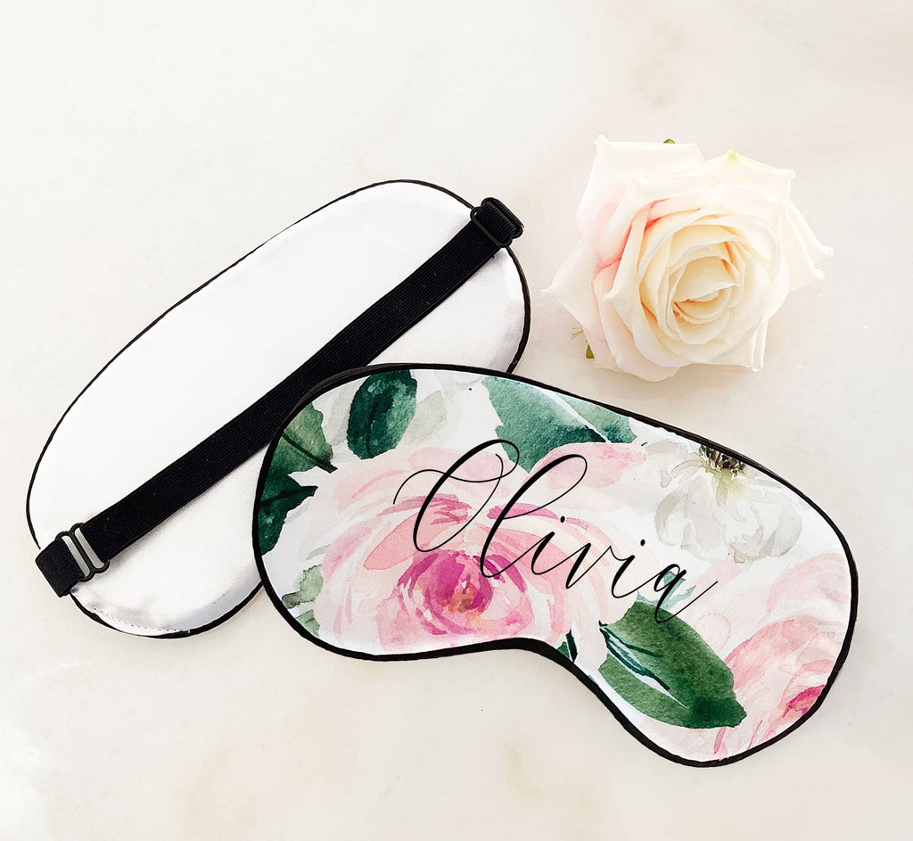 Personalized Floral Sleep Mask - The Persnickety Bride
