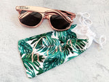 Personalized Palm Leaf Sunglasses Pouch - The Persnickety Bride