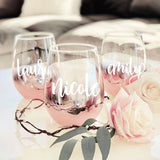 Personalized Rose Gold Stemless Glass - The Persnickety Bride