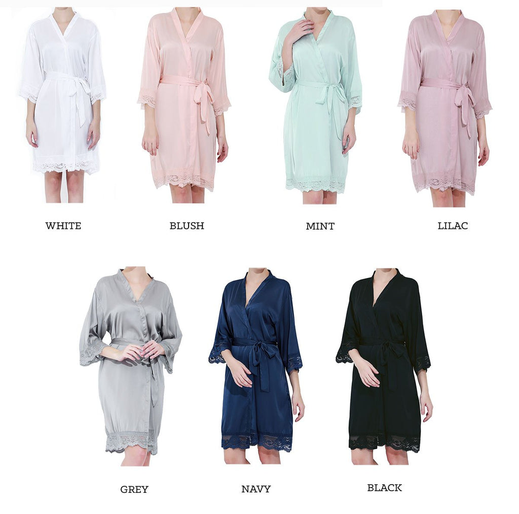 Personalized Satin Lace Robe - The Persnickety Bride