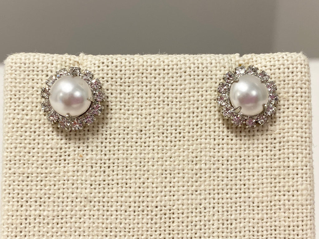Round stud pearl with diamond earrings - The Persnickety Bride