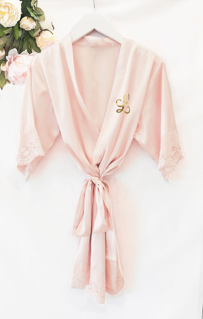 Satin Lace Child Monogram Robe - The Persnickety Bride