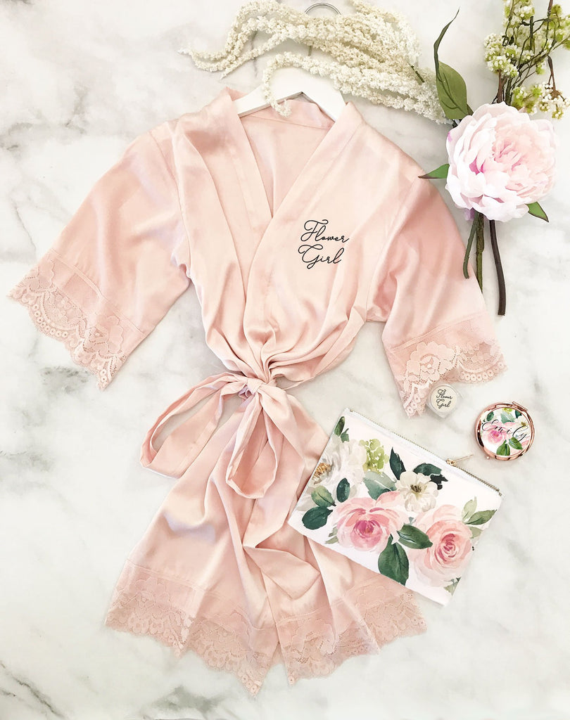 Satin Lace Flower Girl Robe - The Persnickety Bride