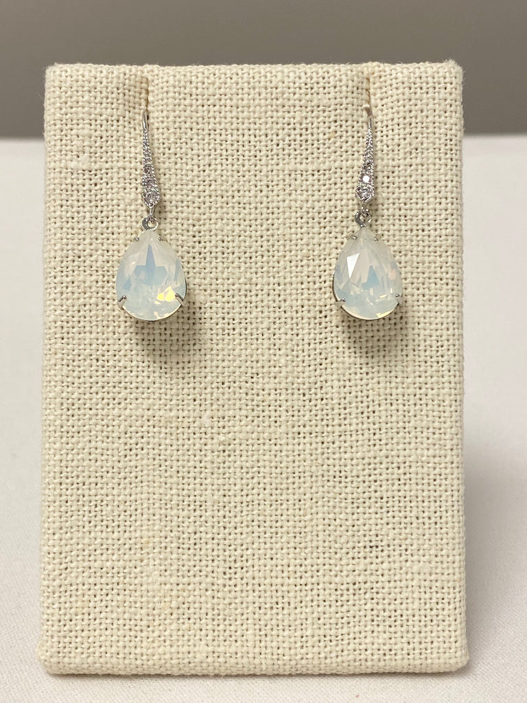 Silver and opal bridal earrings - The Persnickety Bride