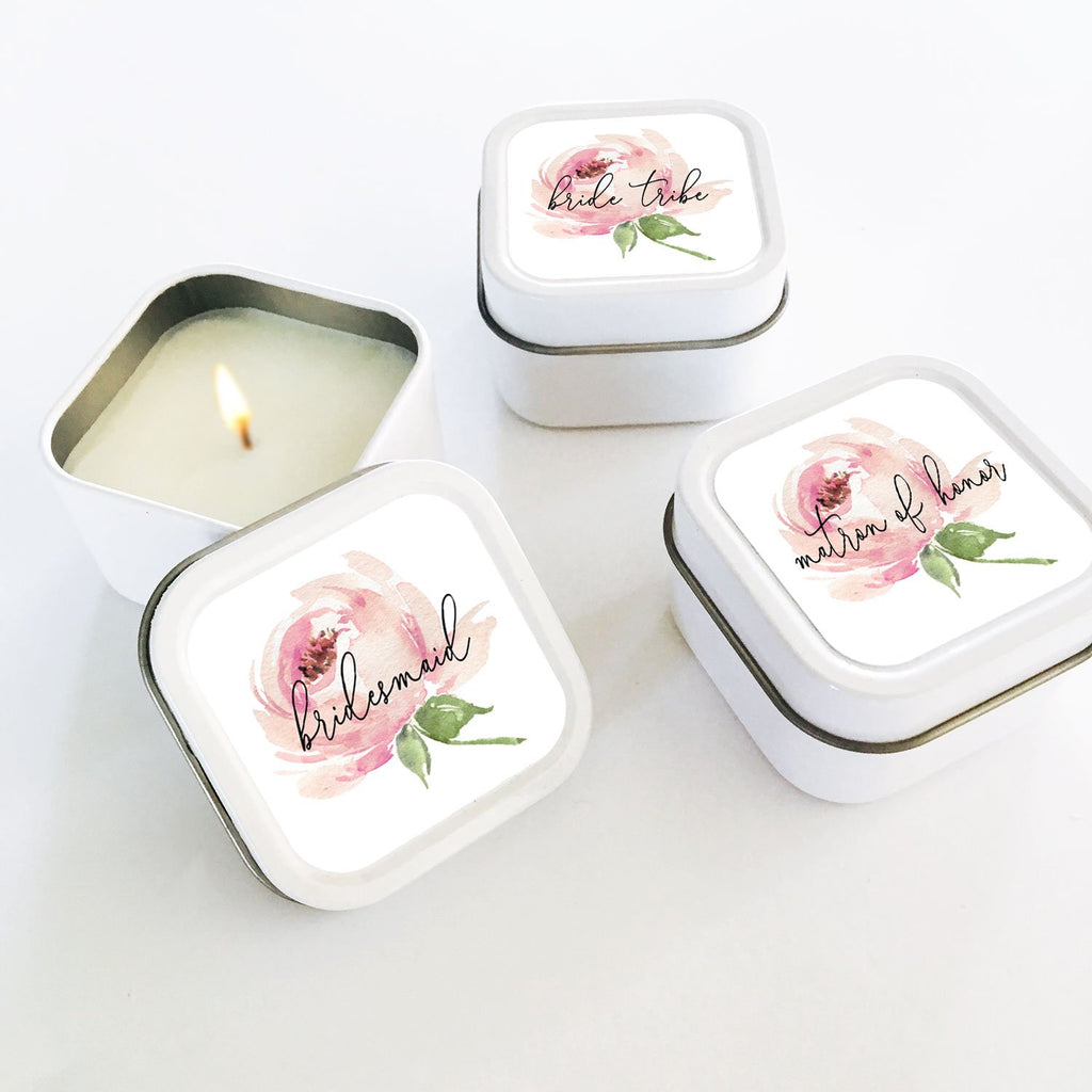 Spring Rose Bridal Party Candles (set of 12) - The Persnickety Bride