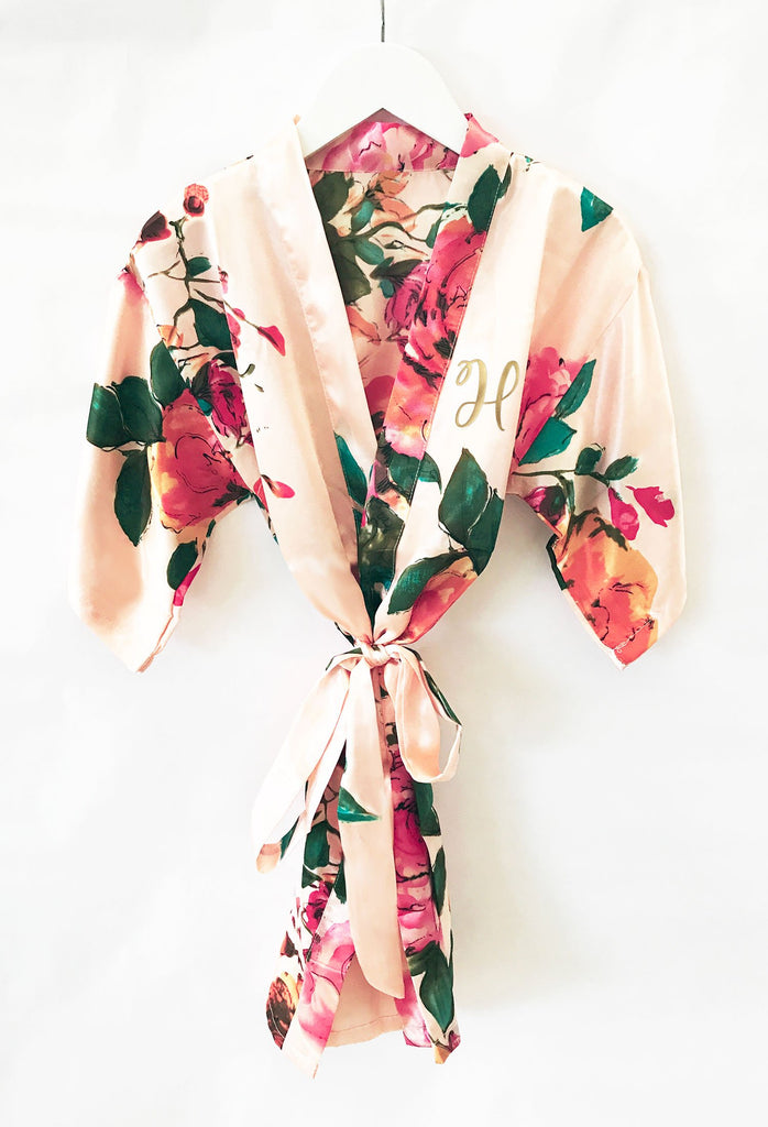 Watercolor Floral Child Monogram Robe - The Persnickety Bride