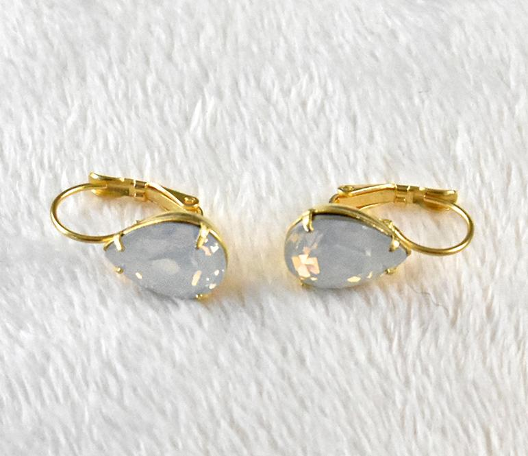 White Opal Pear Earrings - The Persnickety Bride