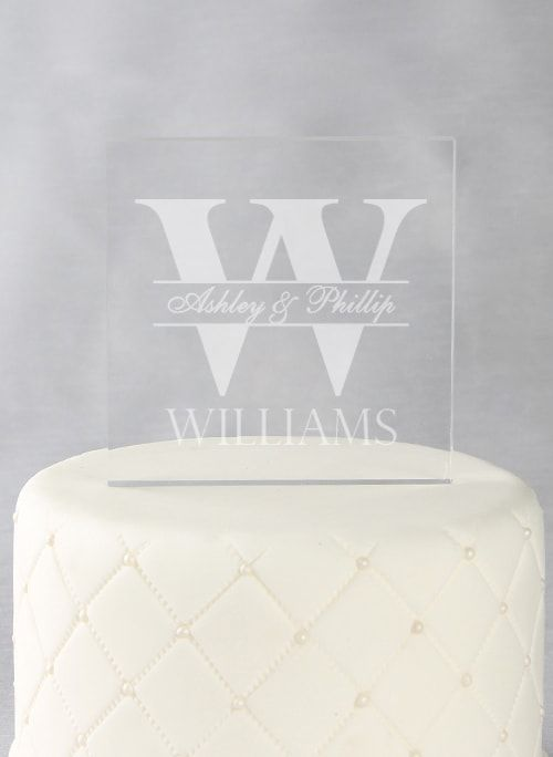 Bold Initial Acrylic Square Cake Top - The Persnickety Bride