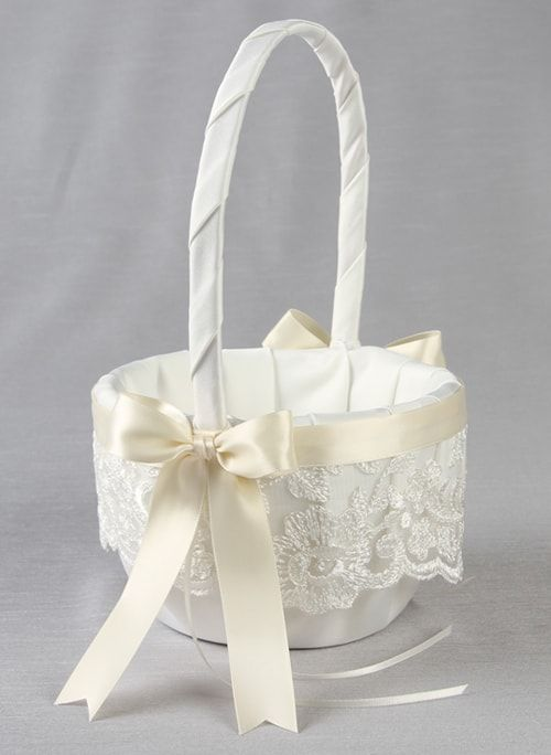 Chantilly Lace Flower Basket - The Persnickety Bride