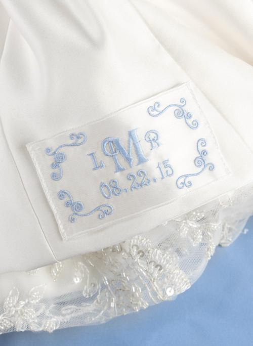 Flourish Border Monogram Dress Label - The Persnickety Bride