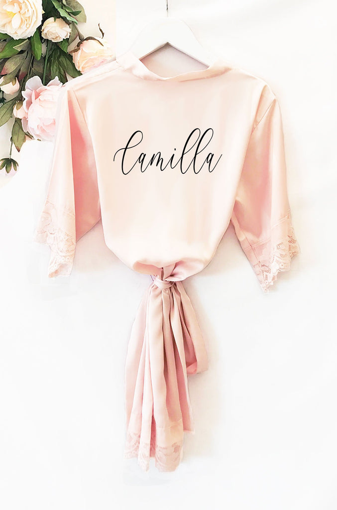 Personalized Child Satin Lace Robe - The Persnickety Bride