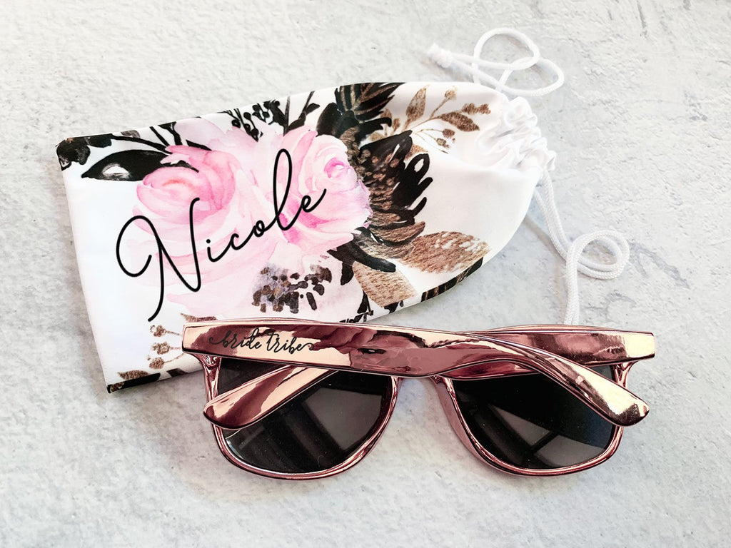 Personalized Floral Sunglasses Pouch - The Persnickety Bride