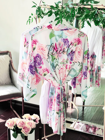 Monogram Spring Rose Satin Robe