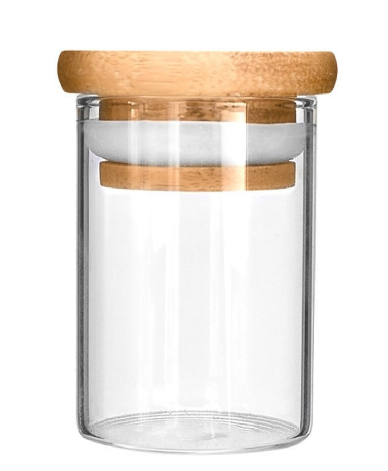 Wooden Lid Glass Jars 5-7 grams