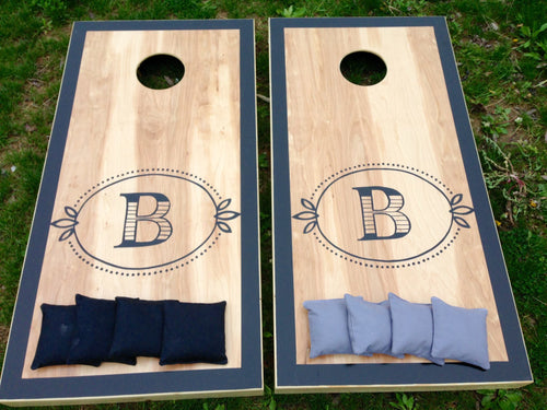 Rustic Monogram Cornhole Boards with Border