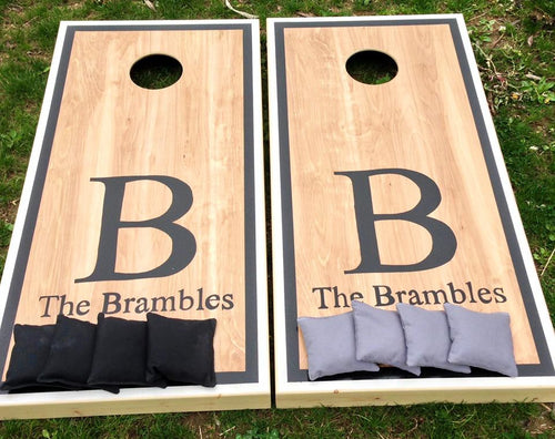 Bold Monogram Cornhole Board Set with Double Borders