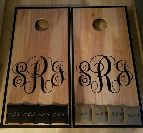 Elegant Monogram Cornhole Boards