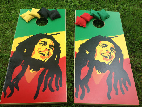 Bob Marley Rastafari Cornhole Board Set with Bags